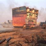 A ship carcass onshore